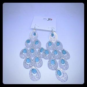Turquoise Chandelier Silver-Tone Earrings 1345